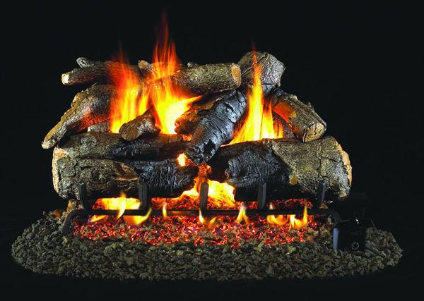Charred American Oak Gas Log Set