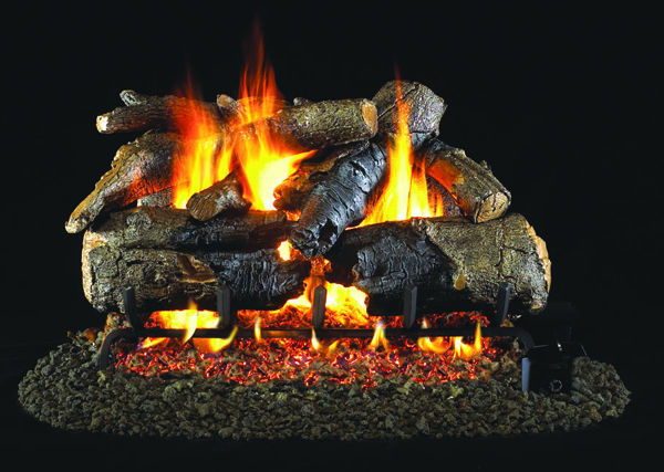 Picture of Charred American Oak Stainless Steel Gas Log Set