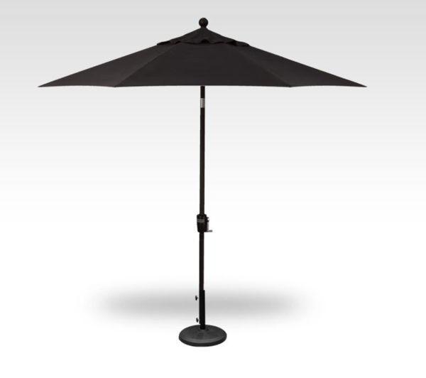 9 Foot Push Button Patio Umbrella, Black Frame, Black Canopy