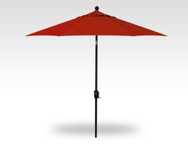 9' Push Button Tilt Patio Umbrella, Black Frame, Red Canopy