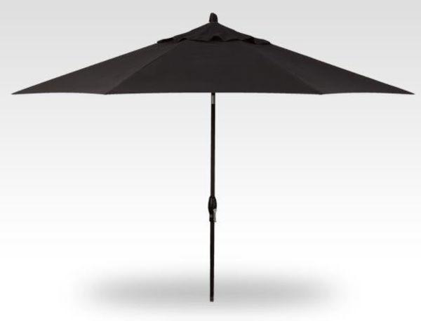 11' Auto Tilt Patio Umbrella, Black Frame, Black Canopy