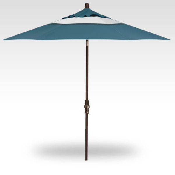 9' Collar Tilt patio umbrella, Bronze Frame, Natural and Surf Canopy