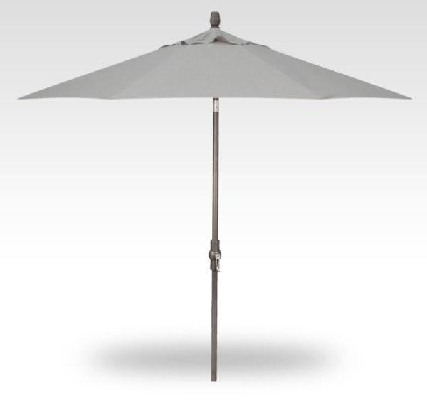 11' Auto Tilt Patio Umbrella, Anthracite Frame, Silver Canopy