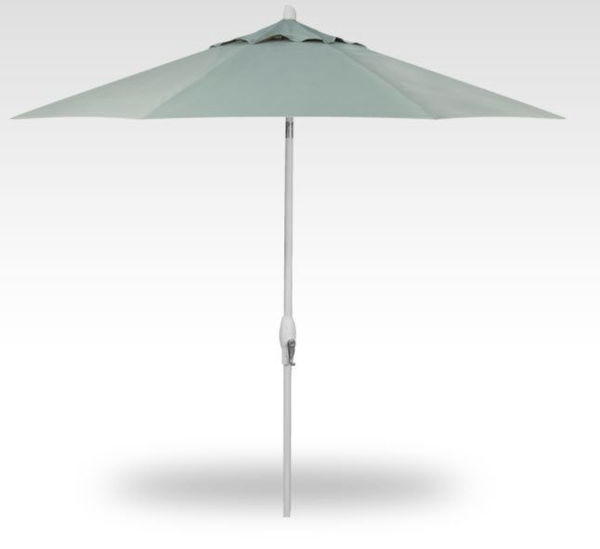 11' Auto Tilt Patio Umbrella, White Frame, Spa Canopy