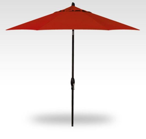 11' Auto Tilt Patio Umbrella, Black Frame, Red Canopy