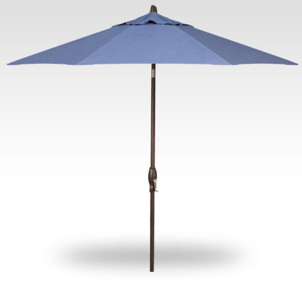 9' Collar Tilt Patio Umbrella, Bronze Frame, Haze Canopy