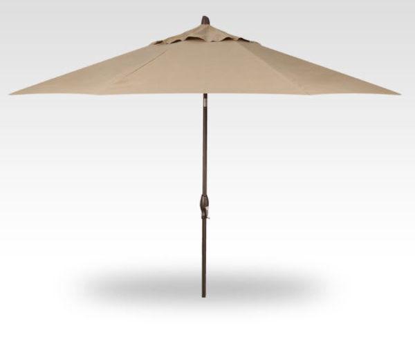 11' Auto Tilt Patio Umbrella, Bronze Frame, Sand Canopy