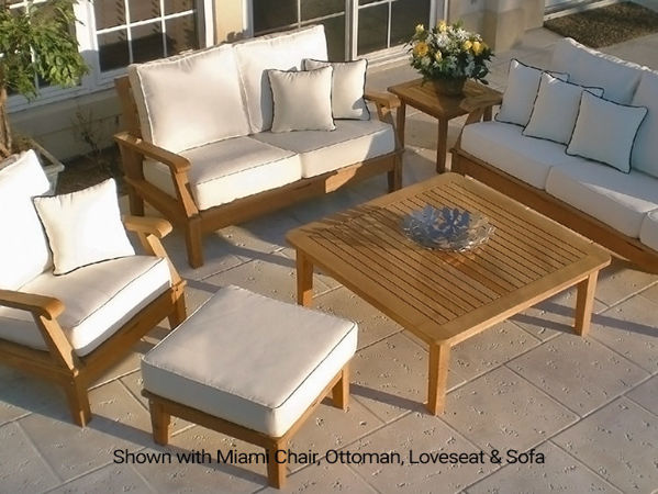 Royal Teak Miami Collection, shown in white, Sofa, Loveseat, Chair, Ottoman, coffee table