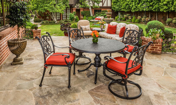 Florence Outdoor Dining Set by Gensun features 1 table, 2 swivel chairs, and 2 dining chairs