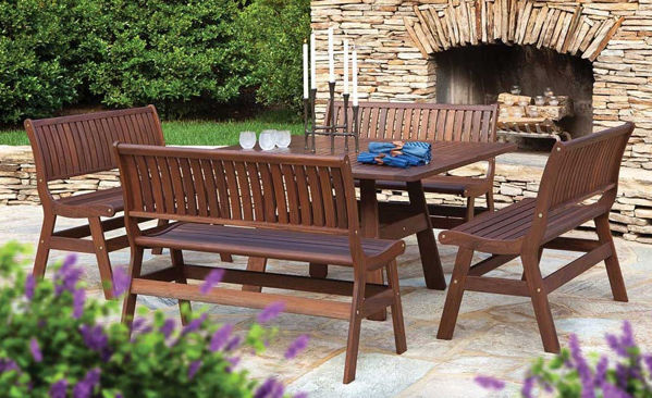 Beechworth Square Dining Set and Amber Benches