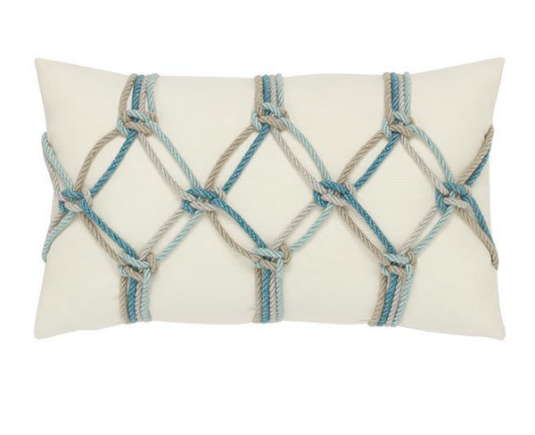 "Elaine Smith Outdoor Pillow - 12""x20"" Aqua Rope"
