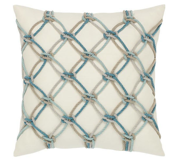 "Elaine Smith Outdoor Pillow - 20""x20"" Aqua Rope"
