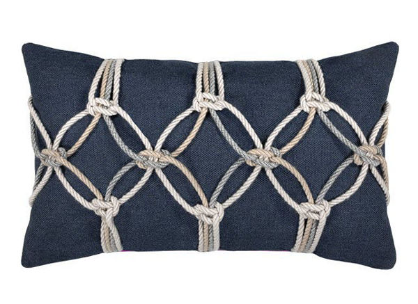"Elaine Smith Outdoor Pillow - 12""x20"" Indigo Rope"