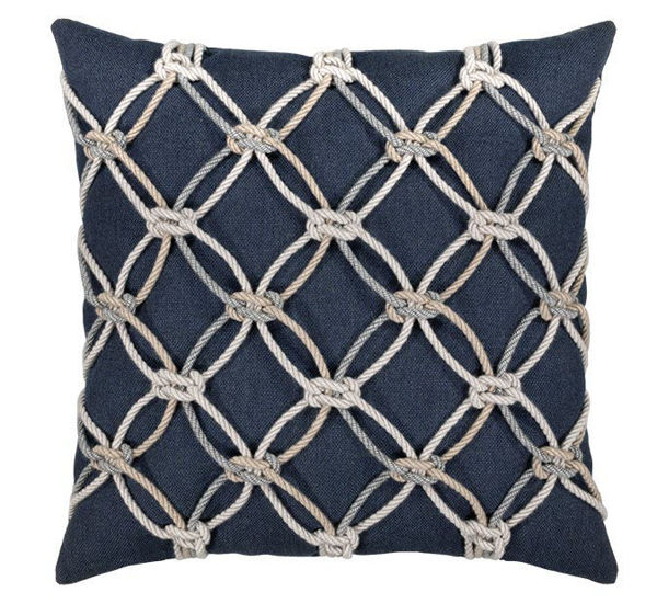 "Elaine Smith Outdoor Pillow - 20""x20"" Indigo Rope"