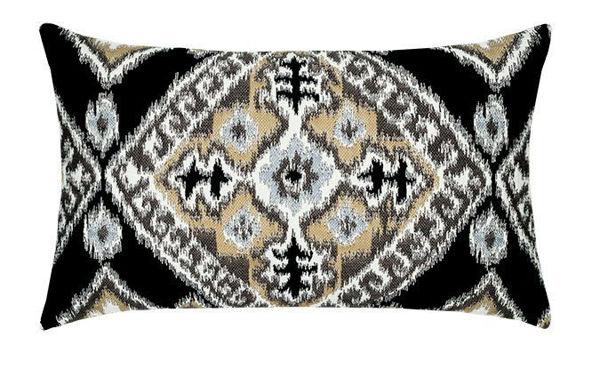 """Elaine Smith Outdoor Pillow - 12""""x20"""" Ikat Diamond Onyx Lumbar"""