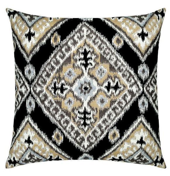 """Elaine Smith Outdoor Pillow - 20""""x20"""" Ikat Diamond Onyx"""