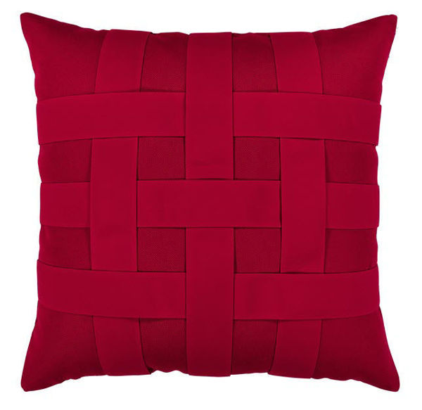 """Elaine Smith Outdoor Pillow - 20""""x20"""" Basketweave Rouge"""