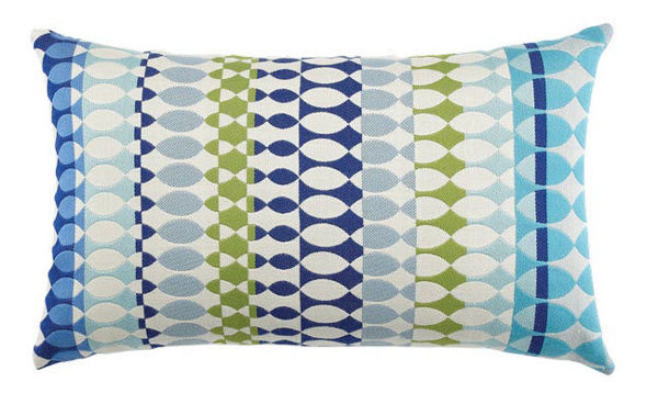 "Elaine Smith Outdoor Pillow - 12""x20"" Modern Oval Ocean Lumbar"