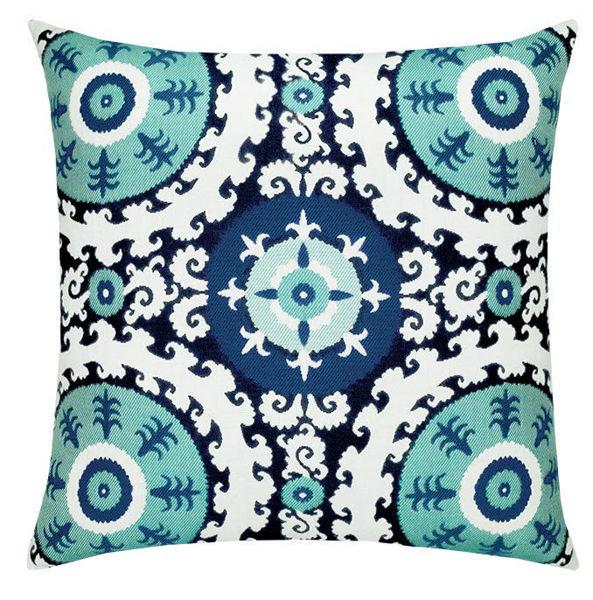 "Elaine Smith Outdoor Pillow - 20""x20"" Suzani Midnight"