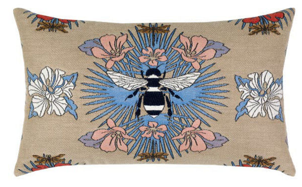 "Elaine Smith Outdoor Pillow - 12""x20"" Tropical Bee Capri Lumbar"