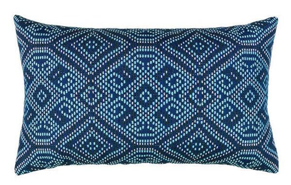 """Elaine Smith Outdoor Pillow - 12""""x20"""" Midnight Tile Lumbar"""