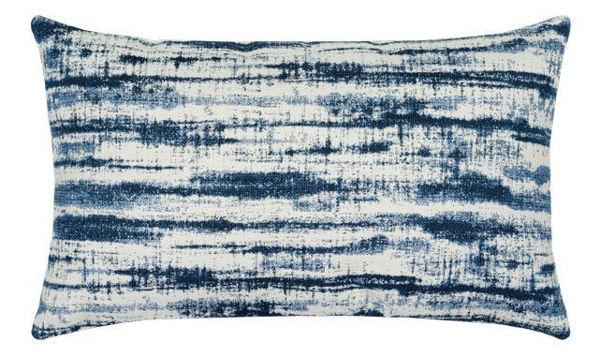 """Elaine Smith Outdoor Pillow - 12""""x20"""" Linear Indigo Lumbar"""