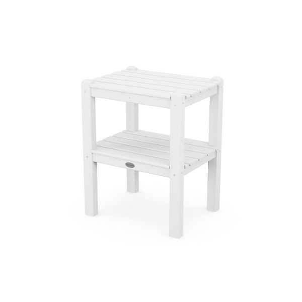 Polywood Two Shelf Side Table White