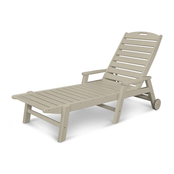 Polywood Chaise Lounge Wheels Arms Sand