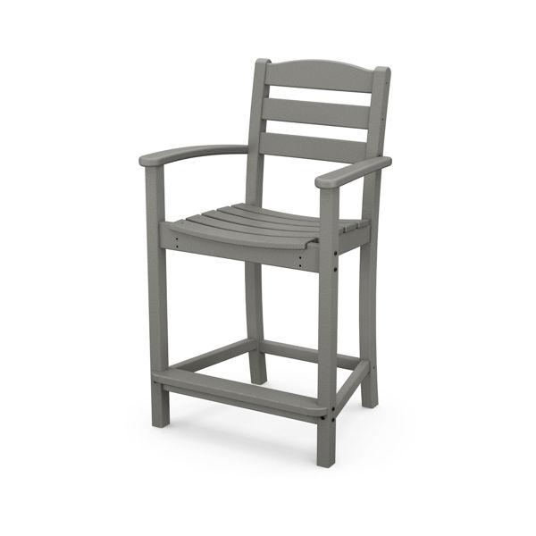 Polywood La Casa Cafe Counter Arm Chair Slate Gray