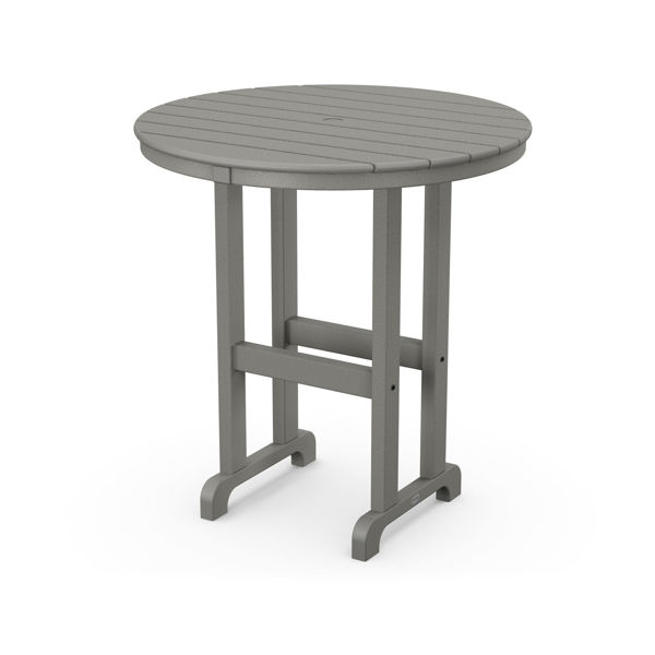 "Polywood Round 36"" Counter Table Slate Gray"