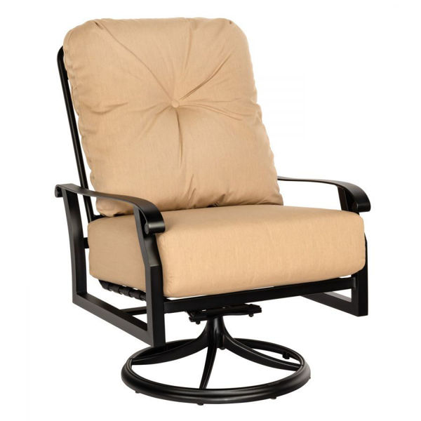 Woodard Cortland Cushion Big Man's Swivel Rocking Lounge Chair chestnut brown sailcloth saharan rain