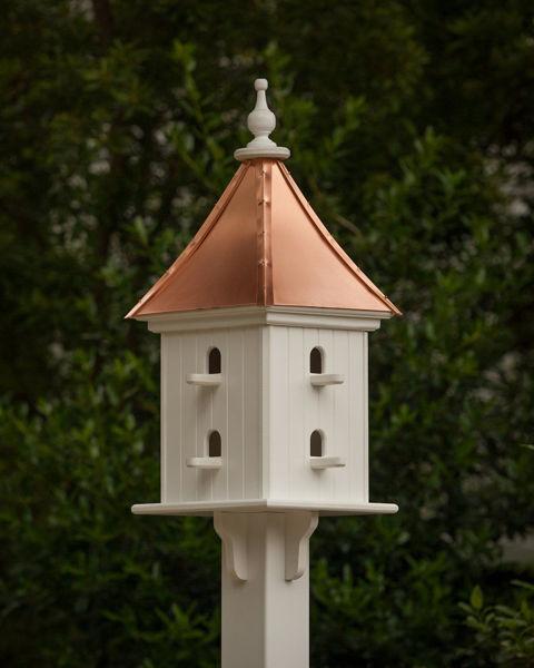 """12"""" Birdhouse with 8 Perches bright copper white"""